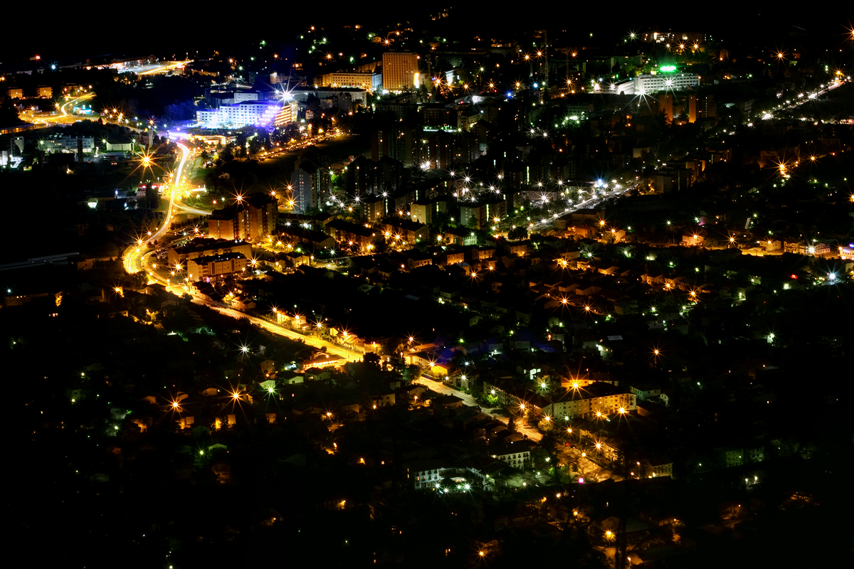 Nova Gorica From Sabotin At Night